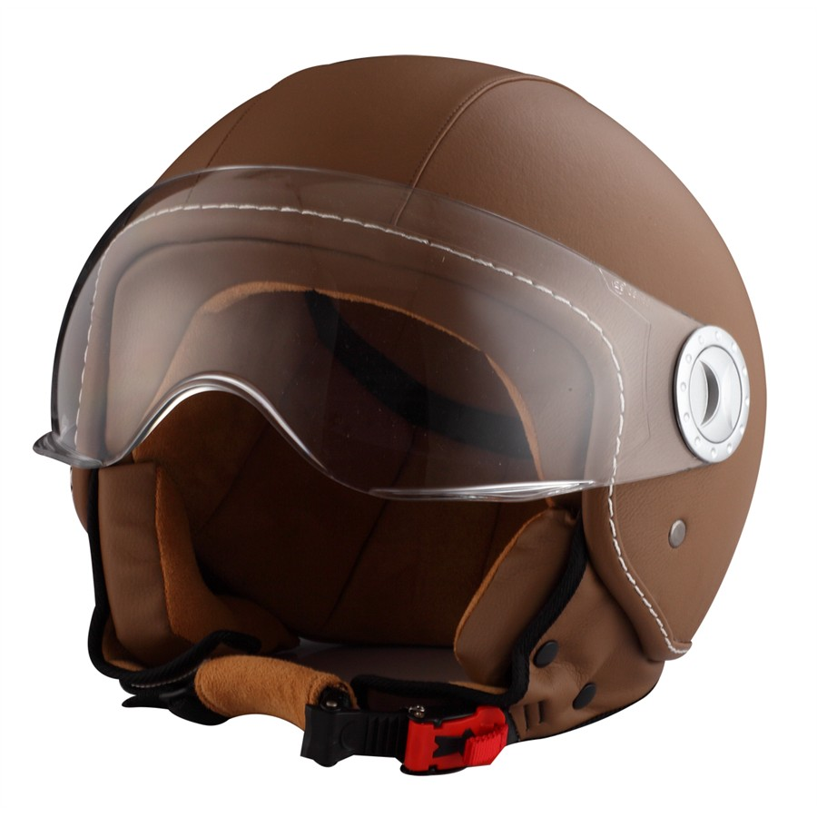 Casco Moto Jet RIDE 701 cuero marrón XL